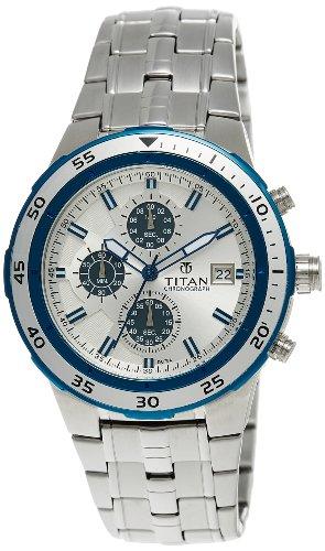 51sxPku B3L - Titan NE9466KM02J Octane Chronograph Silver Mens watch