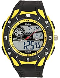 Vizion Black Dial Analog-Digital Dual Time Yellow Shade Watch For Men-8015057AD-4