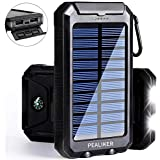 PEALIKER Solar Power Bank 10000mAh Portable Solar Charger External Backup Battery Pack IP65 Waterproof with Dual USB Ports 2 LED Light Carabineer and Compass