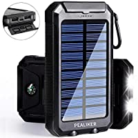 Pealiker Solar Power Bank 10000mAh Portable Solar Charger External Backup Battery Pack IP65 Waterproof with Dual USB Ports 2 LED Light Carabineer and Compass 29