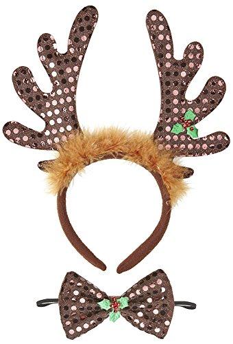 Haarreif Rentiergeweih mit Fliege - Tolles Accessoire für Weihnachtsfeier oder Weihnachtsmarkt (Weihnachtsfeier Kostüm Ideen Für Erwachsene)