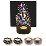 TYYC Home Decorative Candle Holders Diwali Gift Items Mosaic Lord Shiva Tea Light Holder- Set Of 5