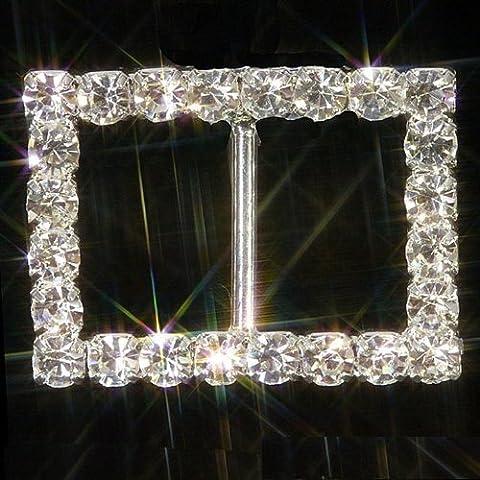 rectangle Argent Ornements Strass ruban Curseur Strass Boucles (Grade A) x Lot de 10 - Diamante Del Nastro Scorrevole
