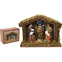 Home&Style nativity scene, 6 figures and 1 wooden stable, 20 x 15 cm with lighting in coloured box, 463303
