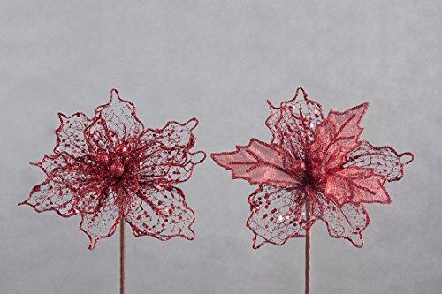 rot red Blume Kunstblume Weihnachtskunstblume Mix Dekorativ Deko - Weihnachten Weihnachtsdeko Muster...