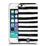 Head Case Designs Streifen Schwarz-Weiss Muster Doodle Soft Gel Hülle für Apple iPhone 5 / 5s / SE