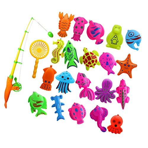 Sharplace Kinder Baby Badewannenspielzeug Set, Angeln Spielzeug Badespaß Spiel Badespielzeug ( Fischmodell + Angelrute + Fischernetze ) - 22 Stück