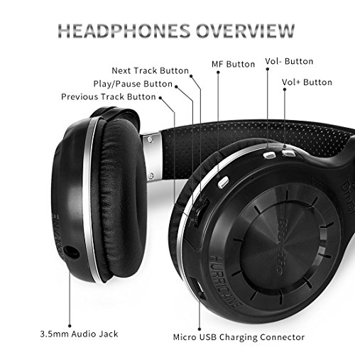 Bluedio T2S - Auriculares de diadema cerrados inalámbricos (Bluetooth, 3.5 mm), color negro