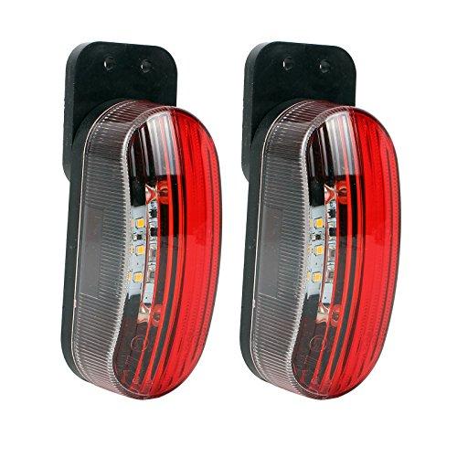 Preisvergleich Produktbild Umrissleuchte LED 12v Begrenzungsleuchte 2er Set rot/weiß 98x42x38 mm, 12 / 24 Volt, 2 Watt, 6 LED für Wohnmobil, Wohnwagen und Anhänger