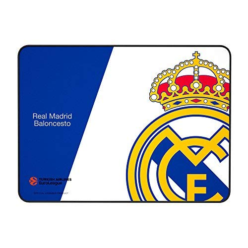 Alfombrilla Real Madrid para PC-(RM,Superficie de Tela Avanzada, Base de Caucho Natural, Compatible con Ratón Laser y Óptico, Producto oficial Euroliga, 350x250x3mm) Color azul y blanco