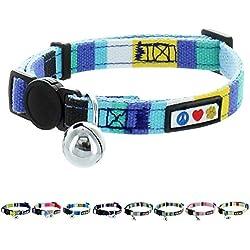 Pawtitas Collar de Gato Multicolor ajustable suave con hebilla de seguridad y cascabel removible