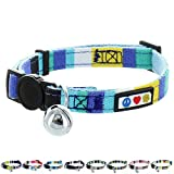 Pawtitas Pet Soft Adjustable Multicolor Cat Collar with Safety Buckle and Removable Bell Blue / White / Teal / Yellow