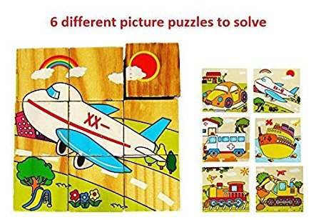 Happy GiftMart 9 Piece Colorful Wooden 3D Block Picture Puzzle For Toddlers, Baby And Small Children (Vehicle)