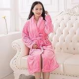 XNWP-Super suave franela gruesa bata albornoz Mujer Pijama polar coral amantes en otoño y la ropa de invierno,Rosa,L