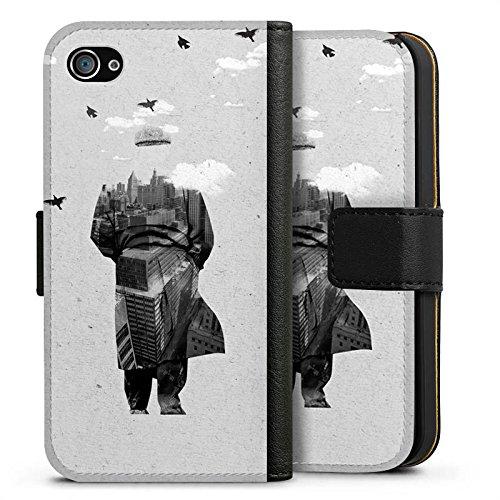 Apple iPhone X Silikon Hülle Case Schutzhülle Silhouette Mann Wolken Sideflip Tasche schwarz
