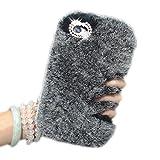 Faux Rabbit Fur Case para iPhone 6 Plus / iPhone 6s Plus (5.5) Funda Peluche, Vandot Diseño Creativo Manga Protección Cubierta Caja Pelo de Conejo Artificial TPU Suave Carcasa Lujo Diamante Brillo Cristal Funda Protectora para las mujeres en Invierno Cálido - Gris Gray