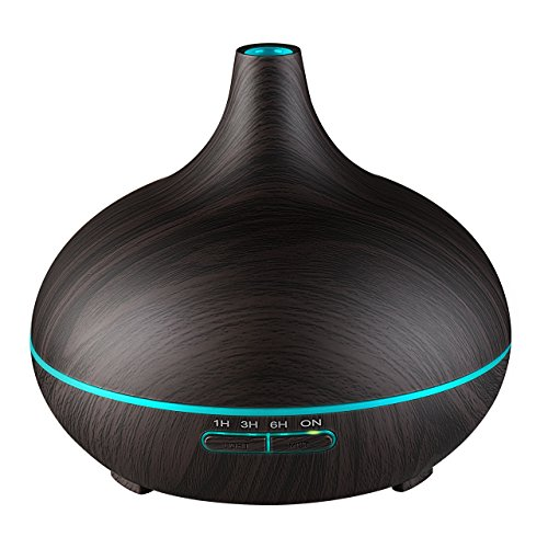 VicTsing 300ml Aroma Diffuser, Holzmaserung Ultraschall Luftbefeuchter mit farbenwechselnde LED Licht, Humidifier Aromatherapie Diffusor, Tragbarer für Babies Kinder Haus Yoga Büro usw.(Dunkles Holz)
