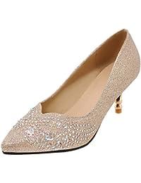 SHOWHOW Damen Paillette Spitz Zehe Stiletto Pumps Für Hochzeit Gold 33 EU 858Zhl51