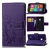 Schutzhülle Für Nokia Lumia 530 , pinlu® Handyhülle Hohe Qualität PU Ledertasche Brieftasche Mit Stand Function Innenschlitzen Design Glücklich Klee Muster Lila