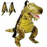 alles-meine GmbH 3-D Rucksack & Kuscheltier - XL groß -  Dinosaurier - Tyrannosaurus Rex - grün  - Plüsch Kinderrucksack / Plüschtier - für Kinder & Erwachsene - Kindergarte..