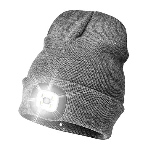 WEITOO Unisex Bright Knit 4 LED Beanie Hat with Light USB Rechargeable Lighted Headlamp Torch Cap Gifts for Men and Women (Grey)