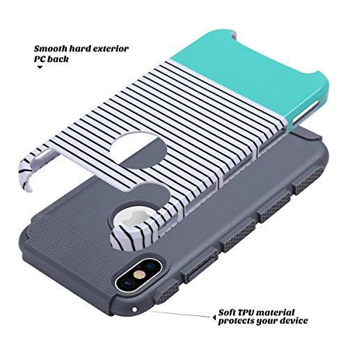 iPhone X Hülle, iPhone 10 hülle, ULAK Slim Dual Layer Anti-Rutsch Schutzmaänahmen Matte Rüstung Shell Fall für iPhone X / iPhone 10 5,8-Zoll 2017 Release minimale Streifen Minze minimale Streifen Minze