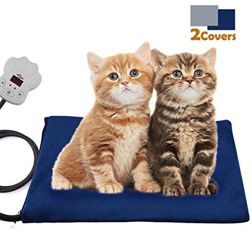 VIFLYKOO Heizmatte für Haustiere, Elektrisches Heizkissen mit 7 Einstellbaren Temperaturen 30W Wärmematte Weich Haustier Heizkissen für Hunde und Katzen Innenwärmematte(40 * 30cm)
