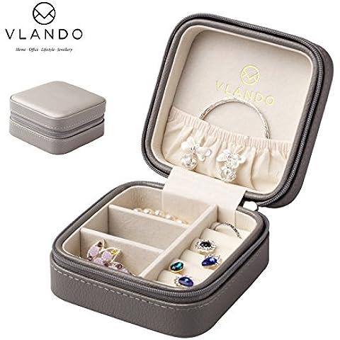 Vlando piccolo in finta pelle con portagioie da viaggio Organizer portaoggetti per anelli, orecchini, collana