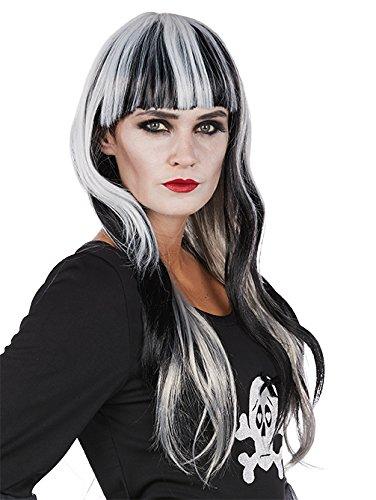 Mystique schwarz Langhaarperücke weiß Strähnen gerader Pony Accessoire Halloween