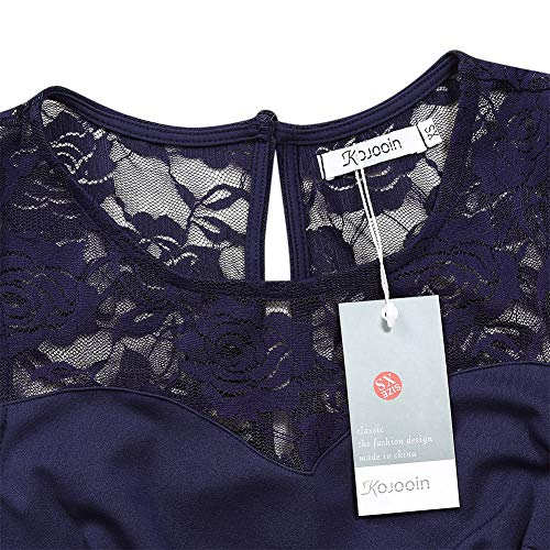KOJOOIN Damen Elegant Kleider Spitzenkleid Ohne Arm Cocktailkleid Knielang  Rockabilly Kleid Blau Dunkelblau M ... 3ca9fb546a