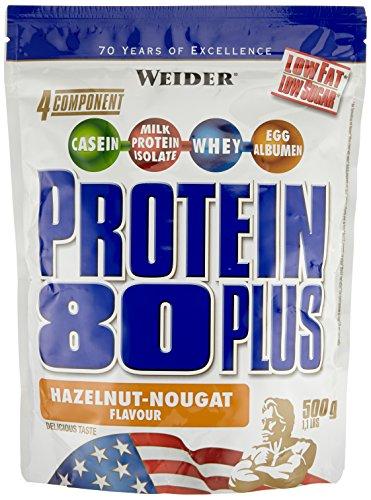 WEIDER Protein 80 Plus Eiweißpulver, 2 Pack, Haselnuss-Nougat, Low-Carb, Mehrkomponenten Casein Whey Mix für Proteinshakes, 2x500g - Diät Shake Mix