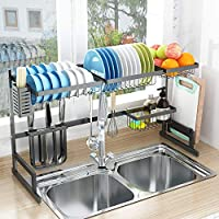 Dish Drying Rack Over Sink, Drainer Shelf for Kitchen Supplies Storage Counter Organizer Utensils Holder Stainless Steel Display- Kitchen Space Save Must Have (Black, For Sink ≤ 32.5inch)