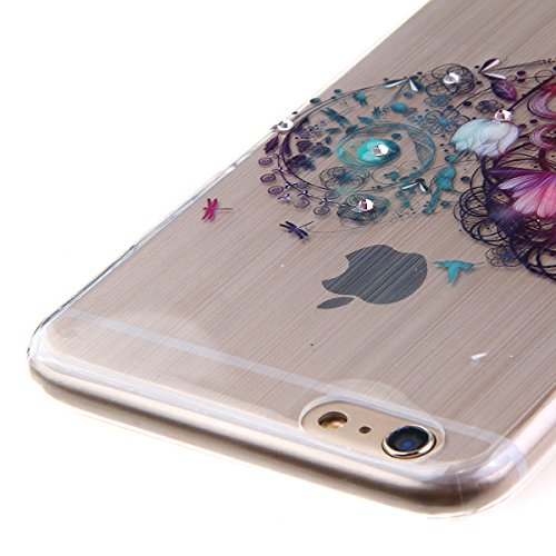 iPhone 6S plus Case,iPhone 6 plus Cover, Felfy Apple iPhone 6/6S plus 5.5 inch Rosa weiße Blume Muster Intarsien Shiny Funkeln Diamant Design Ultra Dünne weiche TPU Gel Silikon Transparent Clear Cryst Blume Herz