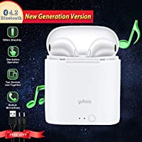 Yuhao Cuffie Bluetooth 4.2, Mini Auricolari Senza Fili con Cassa di Ricarica Microfono Auricolare Cordless In-ear Twins Vero Stereo Wireless Cuffia per iPhone X/8/7/7 Plus/6s/6s plus e Samsung Galaxy S9/S8/S7 (Versione Aggiornata)