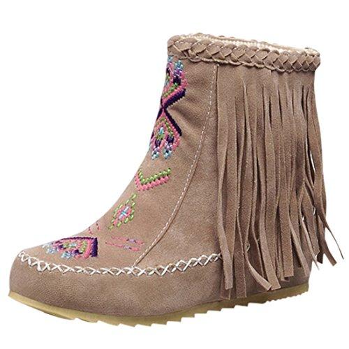 Ó Botas Senhoras Outono Retro Salto Cunha Tornozelo Com Ankle Boots Franjas Bordados Sapatos Bege