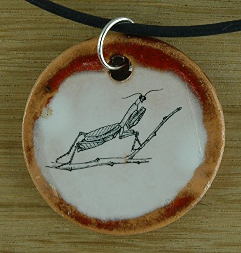 Echtes Kunsthandwerk: Schöner Keramik Anhänger mit einer Gottesanbeterin; Fangschrecke, Insekten, Terrarium