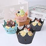 """YUYIKES Pack de 50princesa corona de encaje corte Bake para tartas vasos de papel para taza de envoltorios para cupcakes (para magdalenas con tapa para horno para boda cumpleaños fiesta Bebé niña ducha decoración, negro, 1.96""""/5.0cmX 3.14""""/8.0cmX1.96""""/5.0cm."""