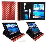 """i-Joy Memphis Tablet 10.1"""" Rojo Lunares Universal 360 Grados de Rotación Cuero PU Funda Carcasa Case Cover ( 9 - 10 Pulgadas ) de Sweet Tech"""