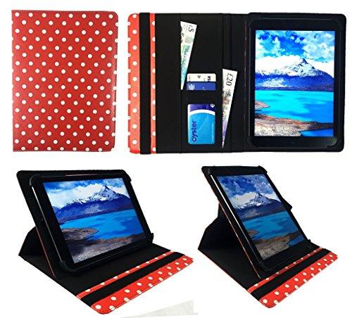 "Denver TAD-10063 / TAD-10072 / TAQ-10122 / TAQ-10133 / TAQ-10153 10.1"" Tablet Rot Punkte Universal 360 Grad Drehung PU Leder Tasche Schutzhülle Case ( 9 - 10 Zoll ) von Sweet Tech"