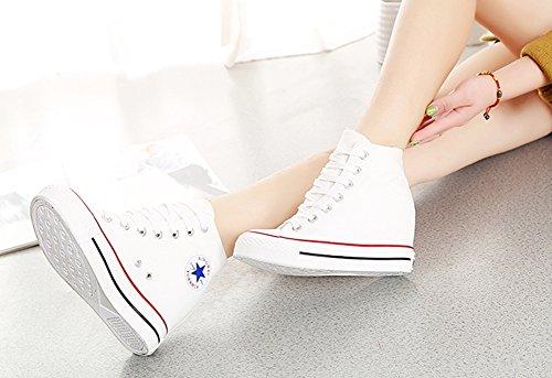 Compensées Wealsex Montante Sneakers Chaussure Basket Toile Femme cTl31JKF