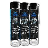 AAB Druckluft-Reiniger 3 x 750ml | Reinigungspray | Druckluft aus der Dose | Für die Reinigung von Multimedia- und Bürogeräte, Tastatur, PC, Keyboard, Spielekonsolen, Computergehäuse | Luftdruckspray