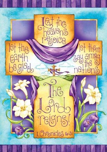 Religioso Croce il Signore regna Double Face House Bandiera 28x 40 - religiosi Articoli
