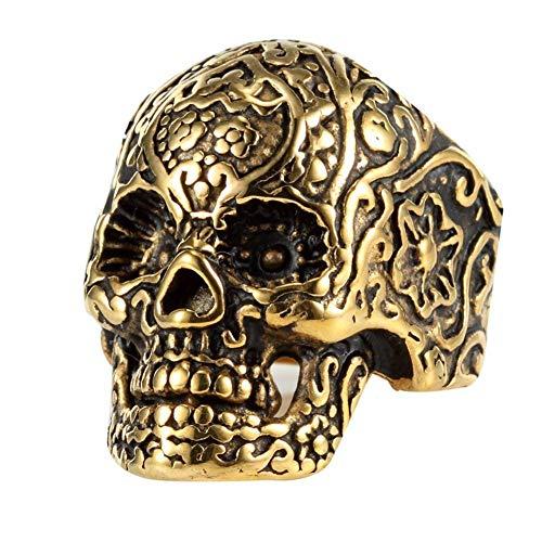 DIBMXC Edelstahl Blumen Tätowierung Goldschädel Ring 316L Mens Walkers Ringe (Titan-walker)
