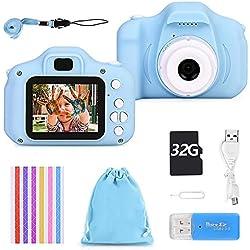 Faburo Kids Camera Appareil Photo Numérique Enfant Mini Numérique Caméra pour Enfant Mini Toy Camera avec écran 1080P et Carte SD de 32 Go Cadeaux créatifs
