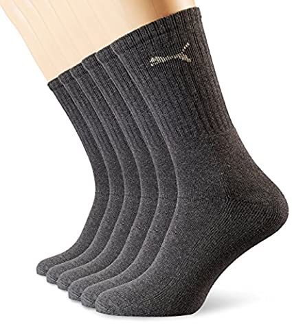 PUMA Unisex Crew Socks Socken Sportsocken MIT FROTTEESOHLE 6er Pack anthracite 201 - (Imbottite Calzini Sport Quarter)
