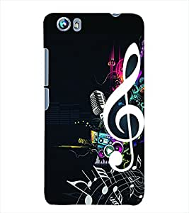 Fuson 3D Printed Music Designer Back Case Cover for Micromax Canvas Fire 4 A107 - D649