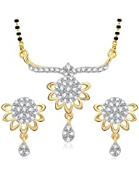 Meenaz Mangalsutra Pendant Set With Earrings For Women Girls Jewellery Set Gold Plated In Cz American Diamond...