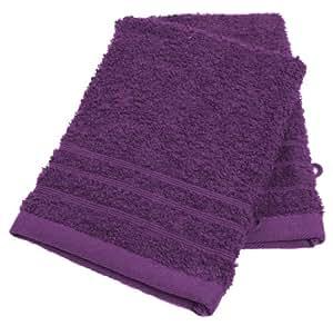Lot de 2 gants de toilette uni aubergine