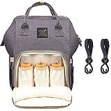 Baby Wickelrucksack Wickeltasche Reise Rucksack, Mama Rucksack Reisetasche, Isolierte Tasche, Wasserdicht Stoffe, Multifunktional, Passform für Kinderwage,Große Kapazität Modern Einzigartig Tragbar (Dunkelgrau 1)