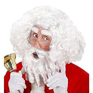WIDMANN x0784Papá Noel Peluca con rizos, Barba, Bigote y Cejas, Color Blanco
